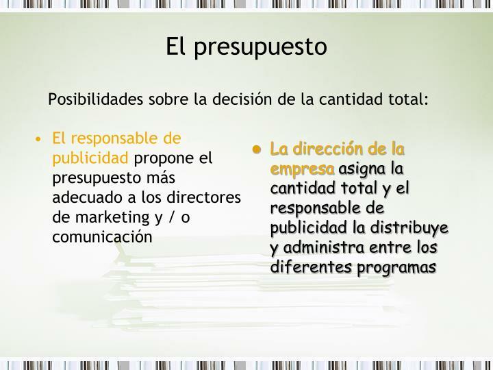Posibilidades sobre la decisión de la cantidad total: