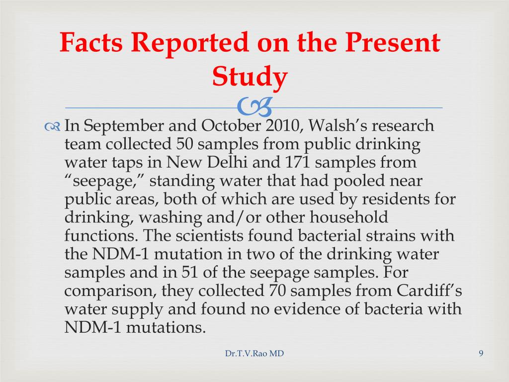 Facts Reported on the Present Study