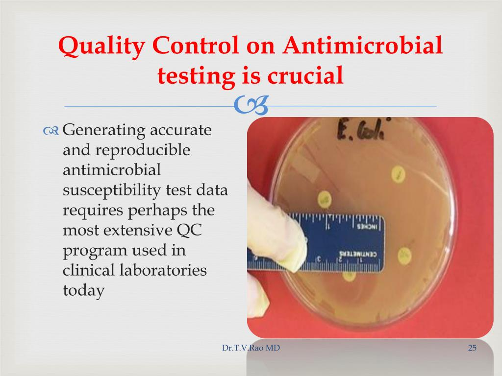 Quality Control on Antimicrobial testing is crucial