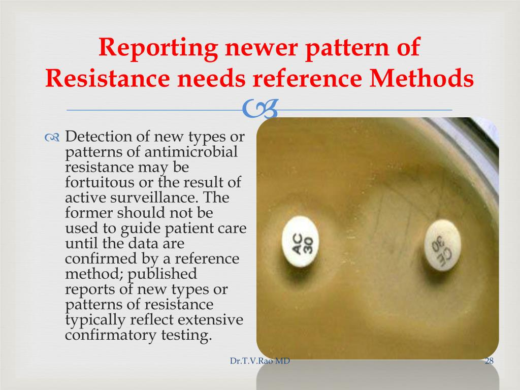 Reporting newer pattern of Resistance needs reference Methods