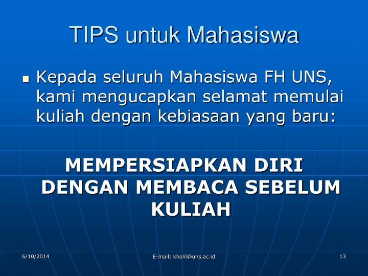 TIPS untuk Mahasiswa