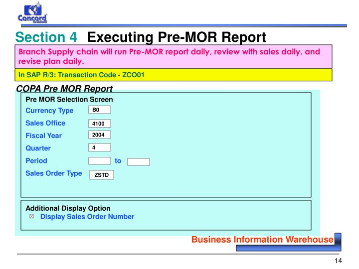 Branch Supply chain will run Pre-MOR report daily, review with sales daily, and revise plan daily.