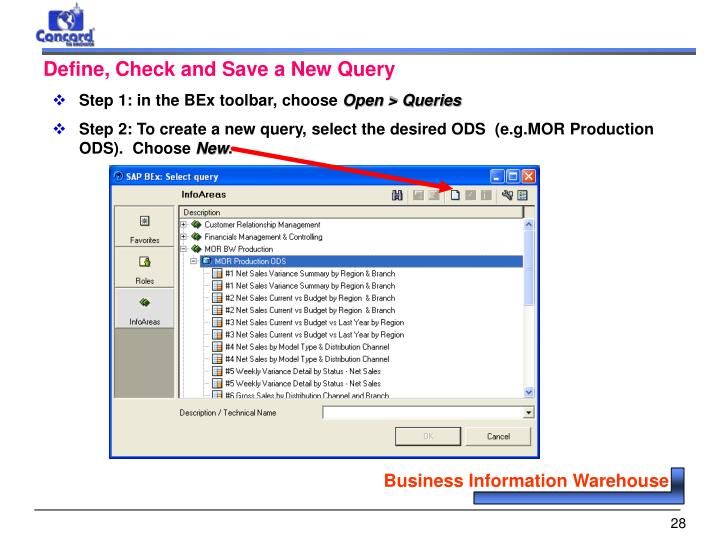 Define, Check and Save a New Query