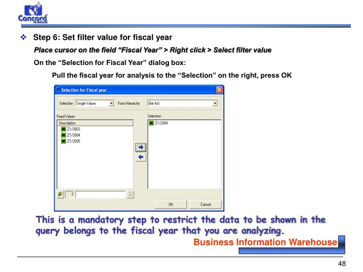 Step 6: Set filter value for fiscal year