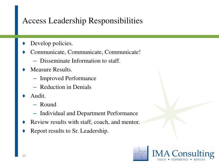 Access Leadership Responsibilities