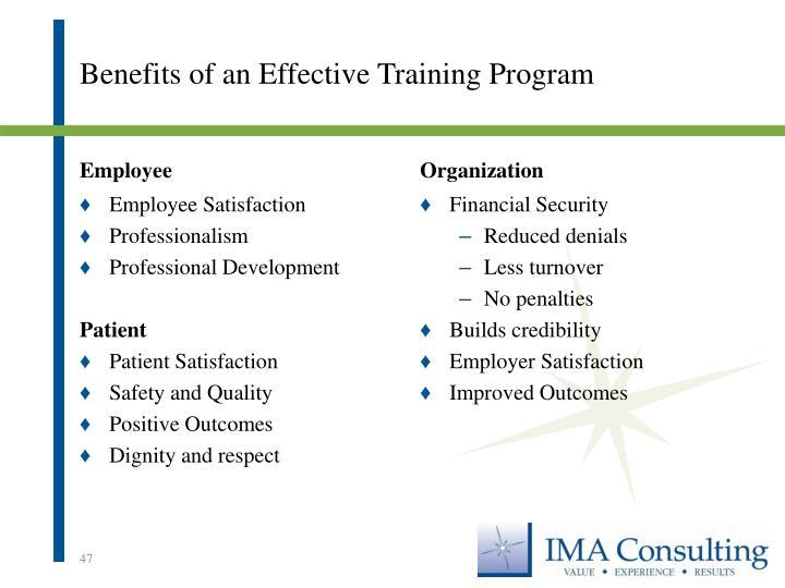 Benefits of an Effective Training Program