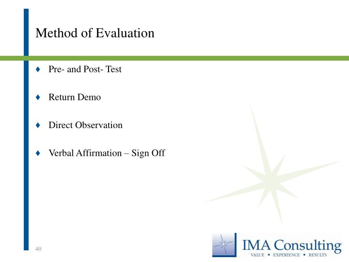 Method of Evaluation