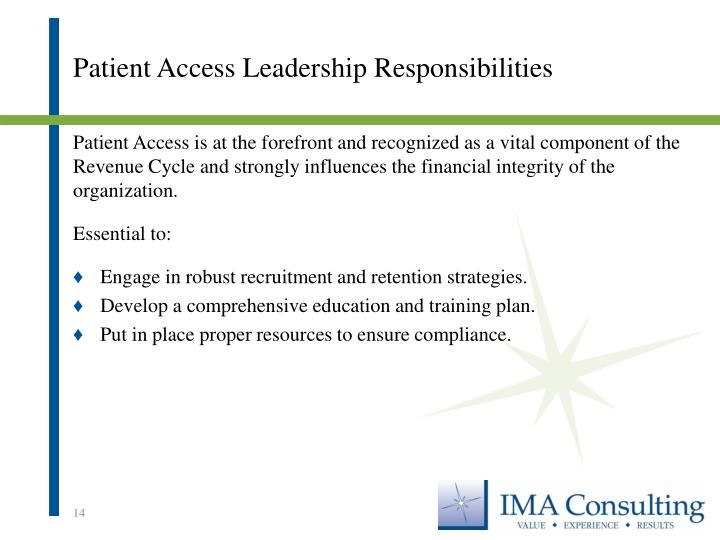 Patient Access Leadership Responsibilities