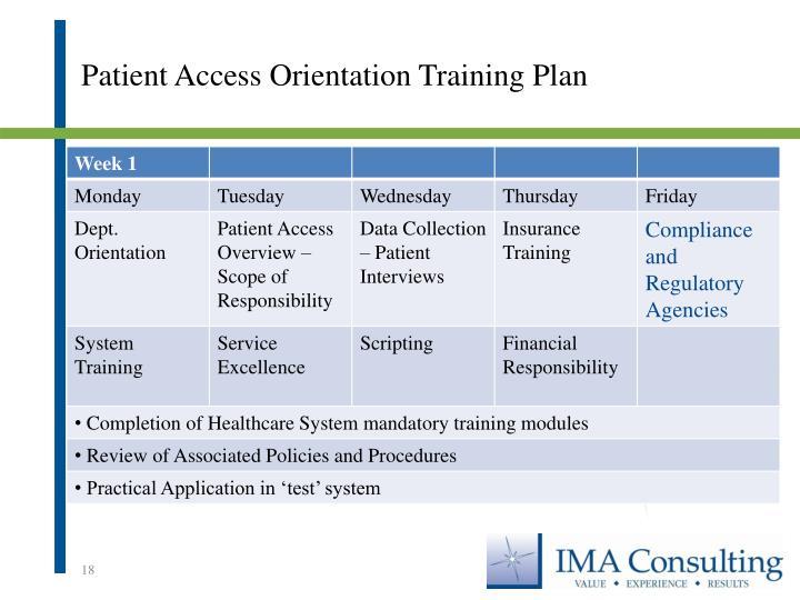 Patient Access Orientation Training Plan