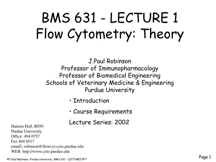 BMS 631 - LECTURE 1