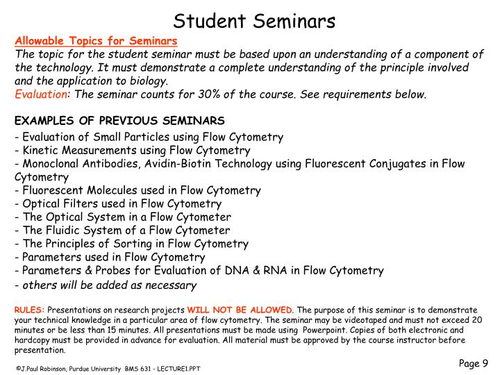 Allowable Topics for Seminars