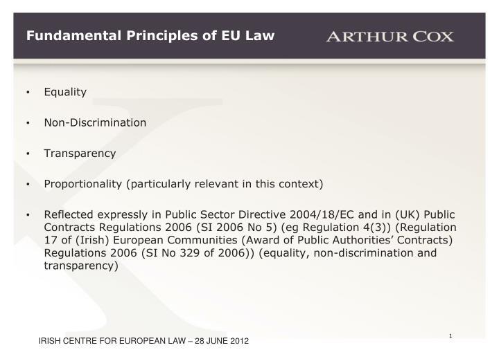 Fundamental Principles of EU Law