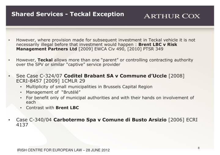 Shared Services - Teckal Exception