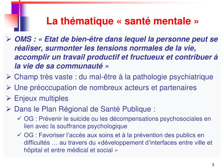 La th matique sant mentale