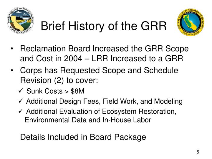 Brief History of the GRR