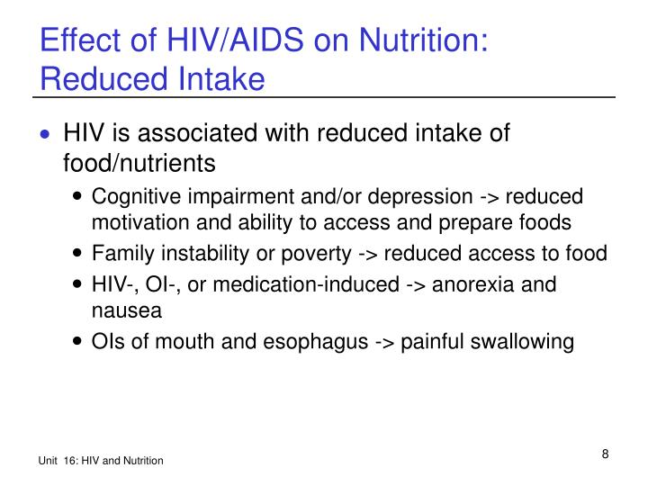 Effect of HIV/AIDS on Nutrition: