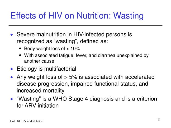 Effects of HIV on Nutrition: Wasting