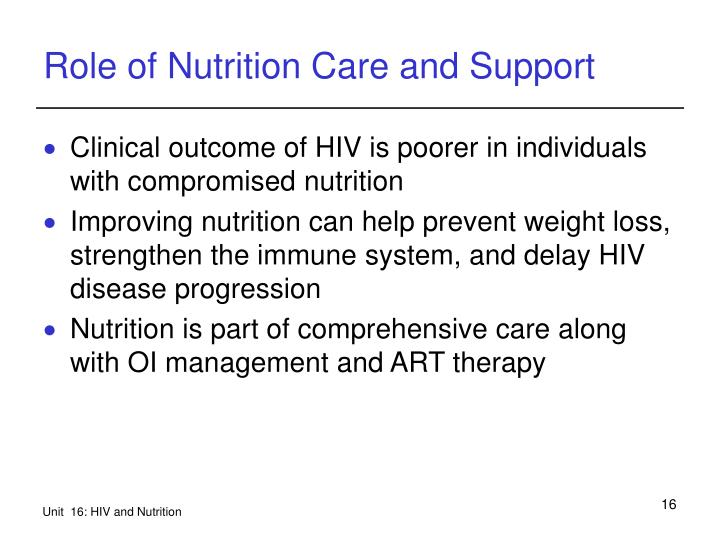 Role of Nutrition Care and Support