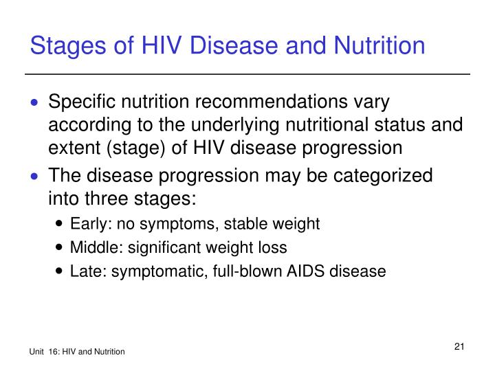 Stages of HIV Disease and Nutrition