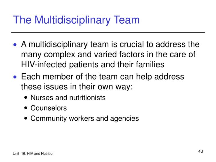 The Multidisciplinary Team