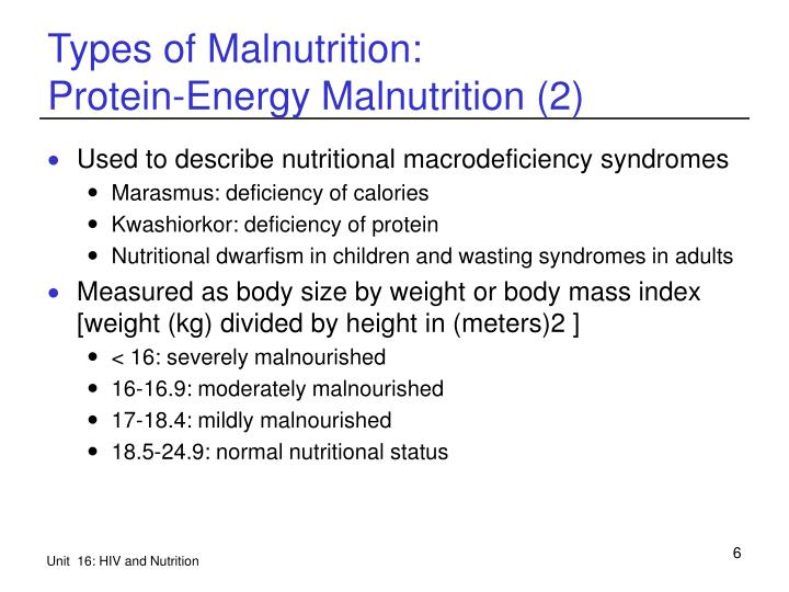 Types of Malnutrition: