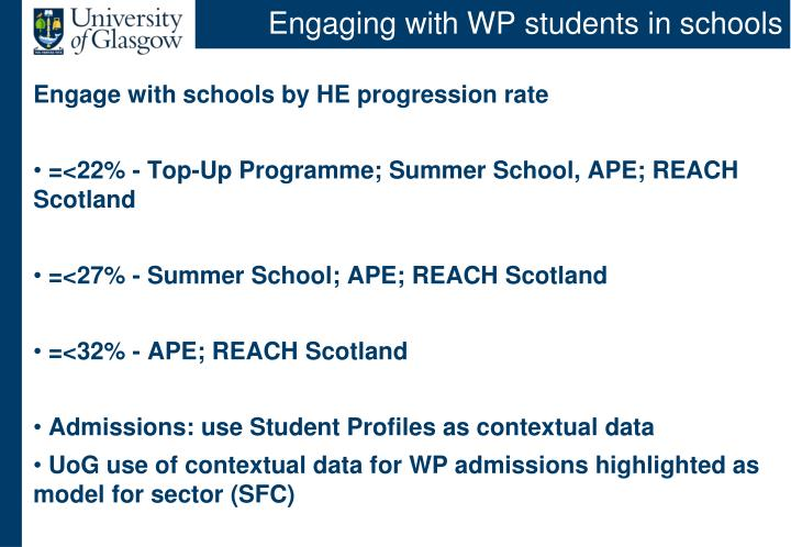 Engaging with WP students in schools