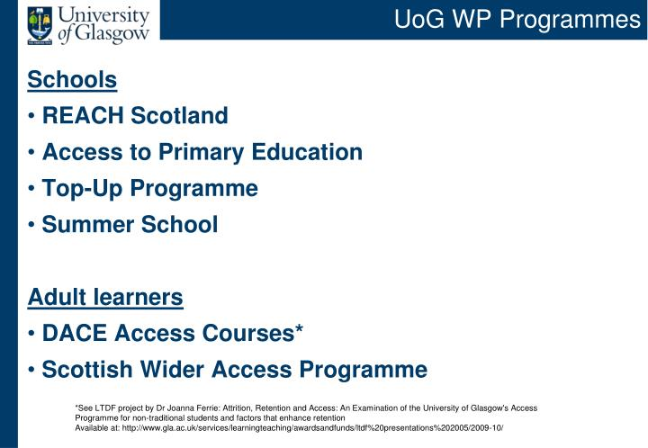 UoG WP Programmes