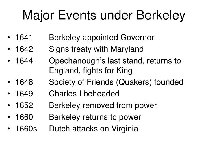 Major events under berkeley