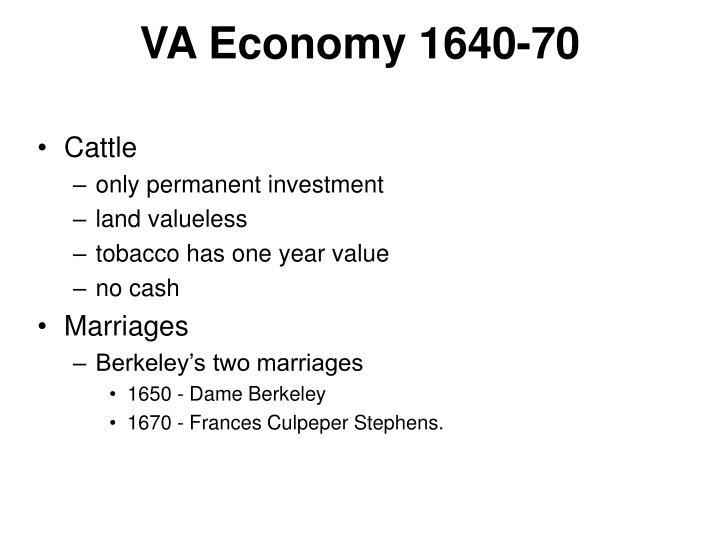 VA Economy 1640-70