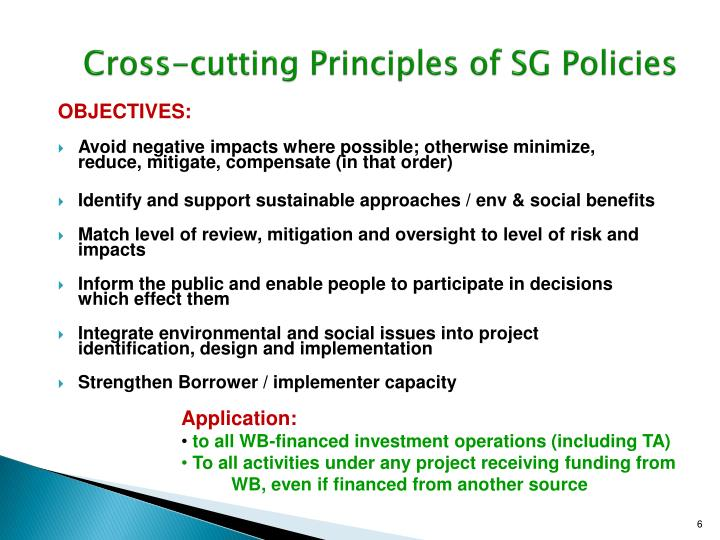 Cross-cutting Principles of SG Policies