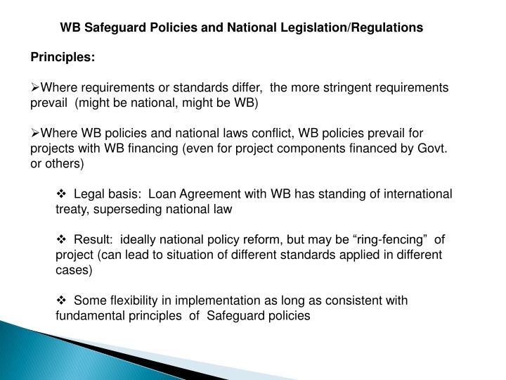 WB Safeguard Policies and National Legislation/Regulations