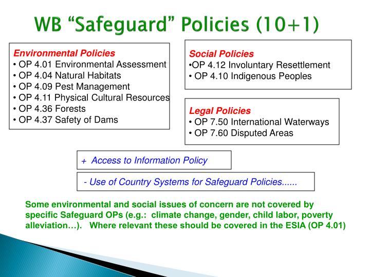 "WB ""Safeguard"" Policies (10+1)"