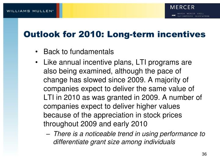 Outlook for 2010: Long-term incentives