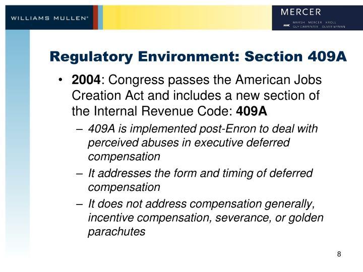 Regulatory Environment: Section 409A