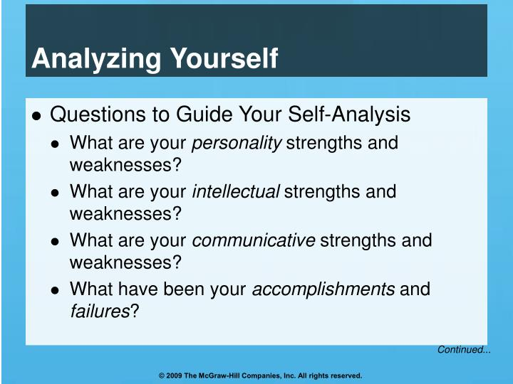 Analyzing Yourself
