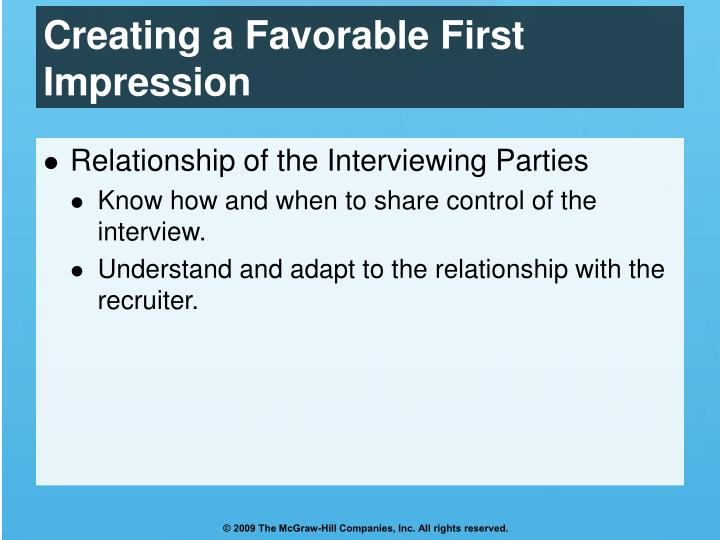 Creating a Favorable First Impression
