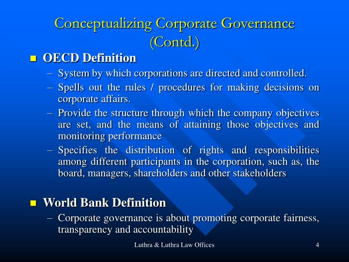 Conceptualizing Corporate Governance (Contd.)
