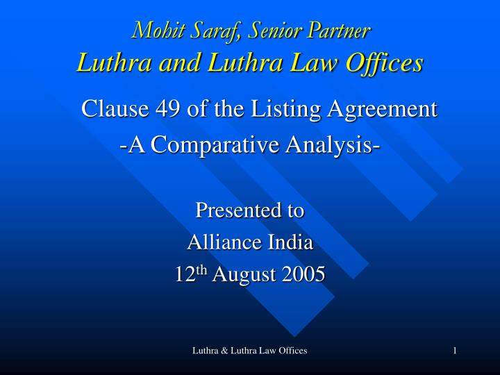 mohit saraf senior partner luthra and luthra law offices