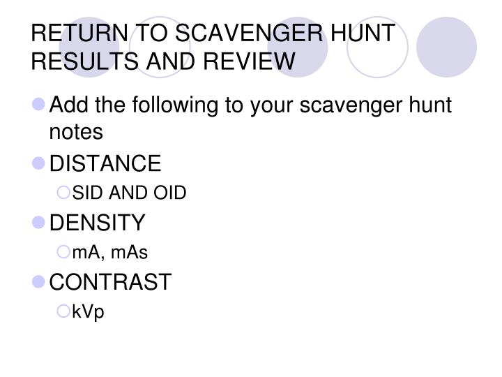 RETURN TO SCAVENGER HUNT RESULTS AND REVIEW