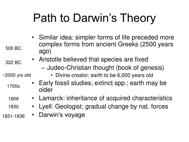 Path to Darwin's Theory