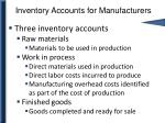 inventory accounts for manufacturers