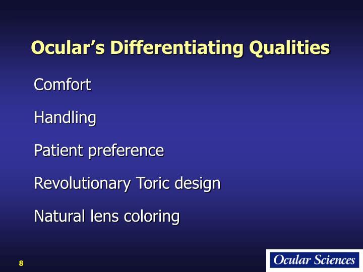 Ocular's Differentiating Qualities