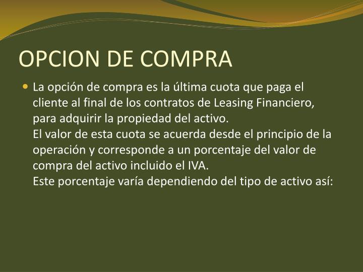 OPCION DE COMPRA