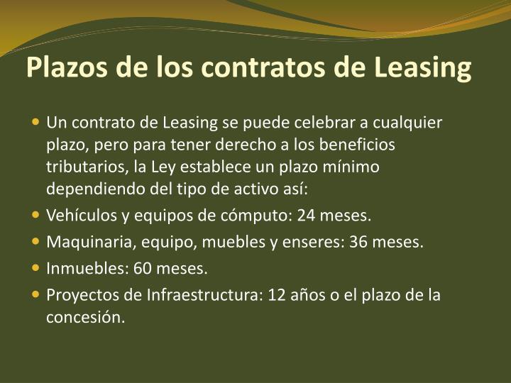 Plazos de los contratos de Leasing