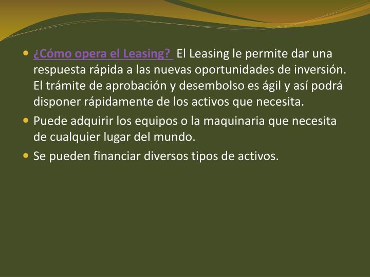 ¿Cómo opera el Leasing?