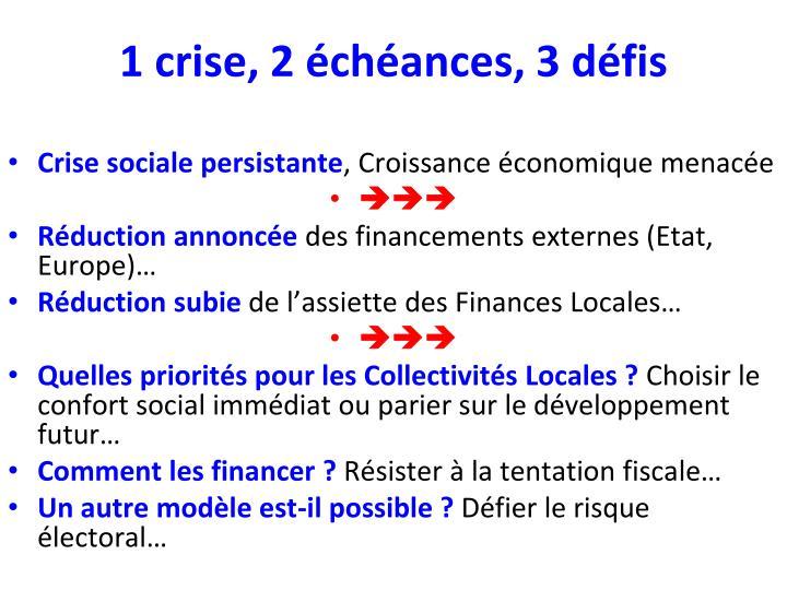 1 crise, 2 échéances, 3 défis