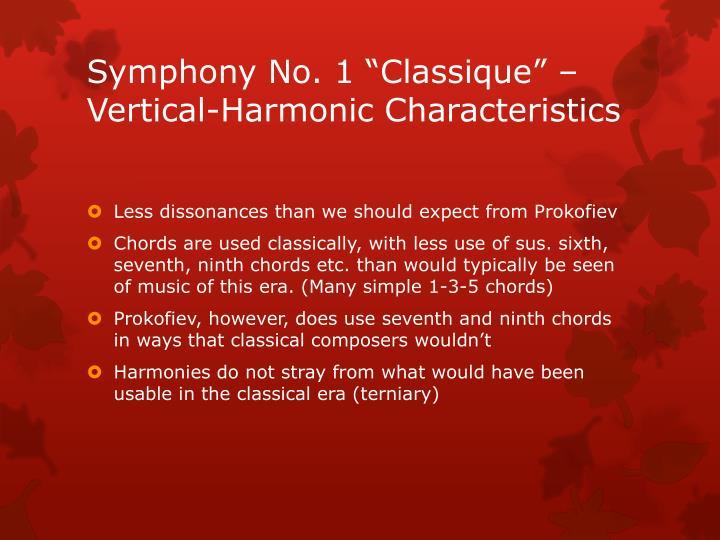 """Symphony No. 1 """"Classique"""" – Vertical-Harmonic Characteristics"""