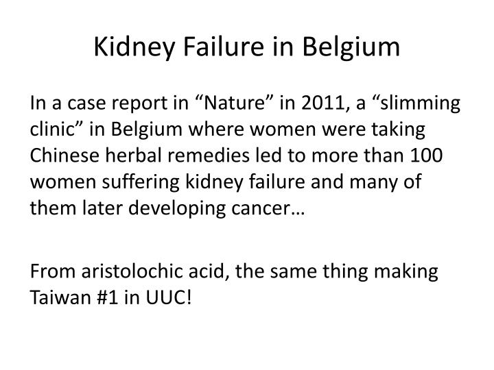 Kidney Failure in Belgium