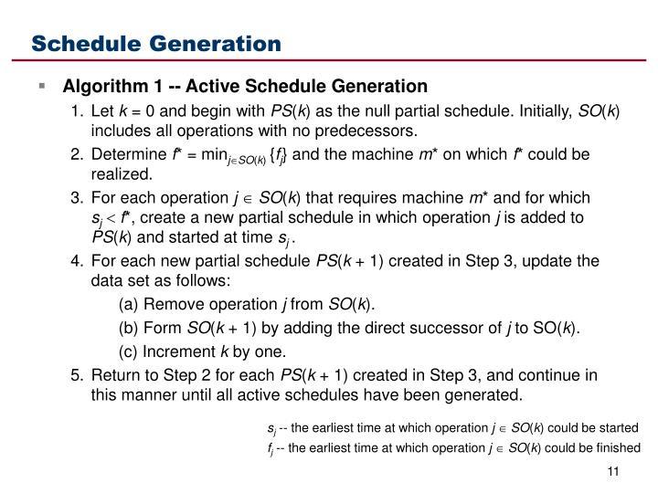 Schedule Generation