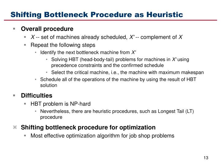 Shifting Bottleneck Procedure as Heuristic